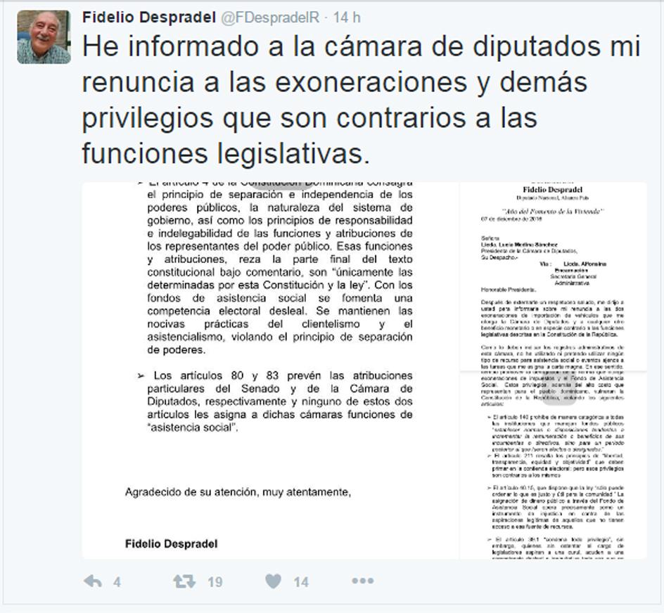 fidelio, despradel, tuiter, diputado, Alcarrizos News Diario Digital