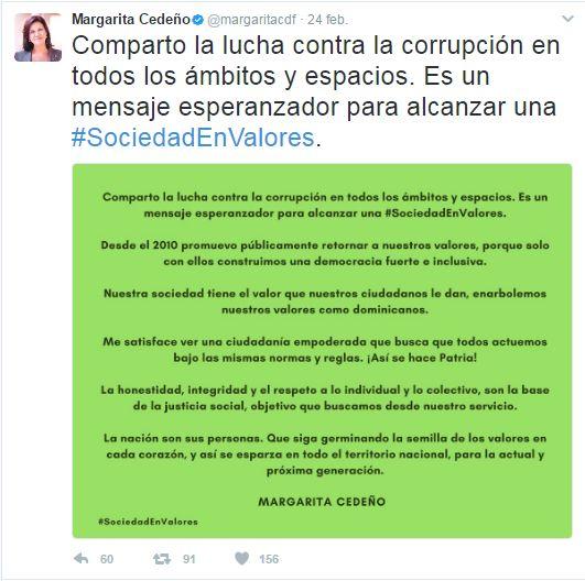 Margarita, Cedeño, mensaje, impunidad, Alcarrizos News Diario Digital