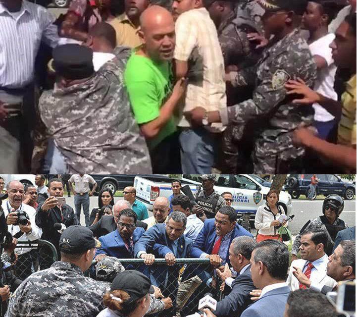 Policía Nacional dispersa a bombazos, culatazos y choques eléctricos a jóvenes y diputados