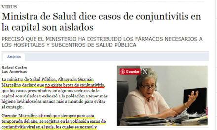 Salud Pública declara epidemia de conjuntivitis, ministra de Salud hace una semana decía que eran casos aislados