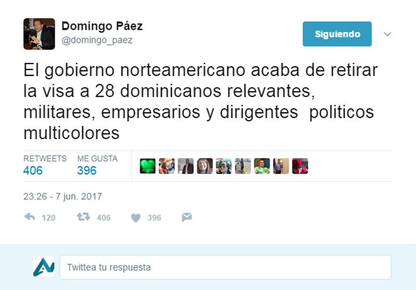 Exdiputado Domingo Páez anuncia gobierno de EEUU retira visa a 28 dominicanos