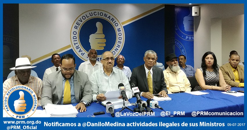 PRM notifica al Presidente Medina de actividades comerciales ilegales de dos de sus Ministros