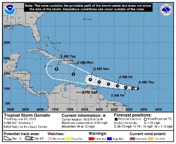Tormenta Gonzalo podría convertirse en huracán en las próximas 24 horas